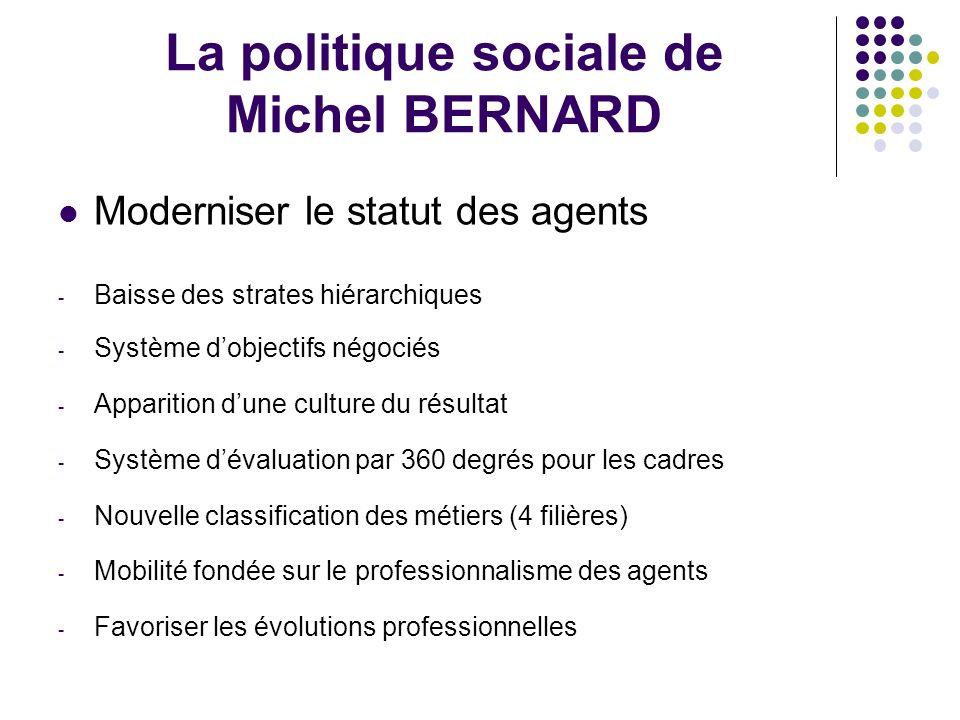 La politique sociale de Michel BERNARD Moderniser le statut des agents - Baisse des strates hiérarchiques - Système dobjectifs négociés - Apparition d