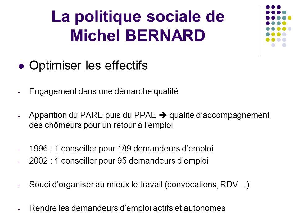 La politique sociale de Michel BERNARD Optimiser les effectifs - Engagement dans une démarche qualité - Apparition du PARE puis du PPAE qualité daccom