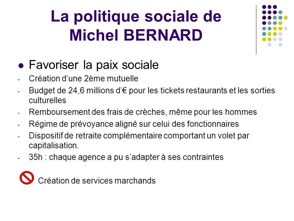 La politique sociale de Michel BERNARD Favoriser la paix sociale - Création dune 2ème mutuelle - Budget de 24,6 millions d pour les tickets restaurant