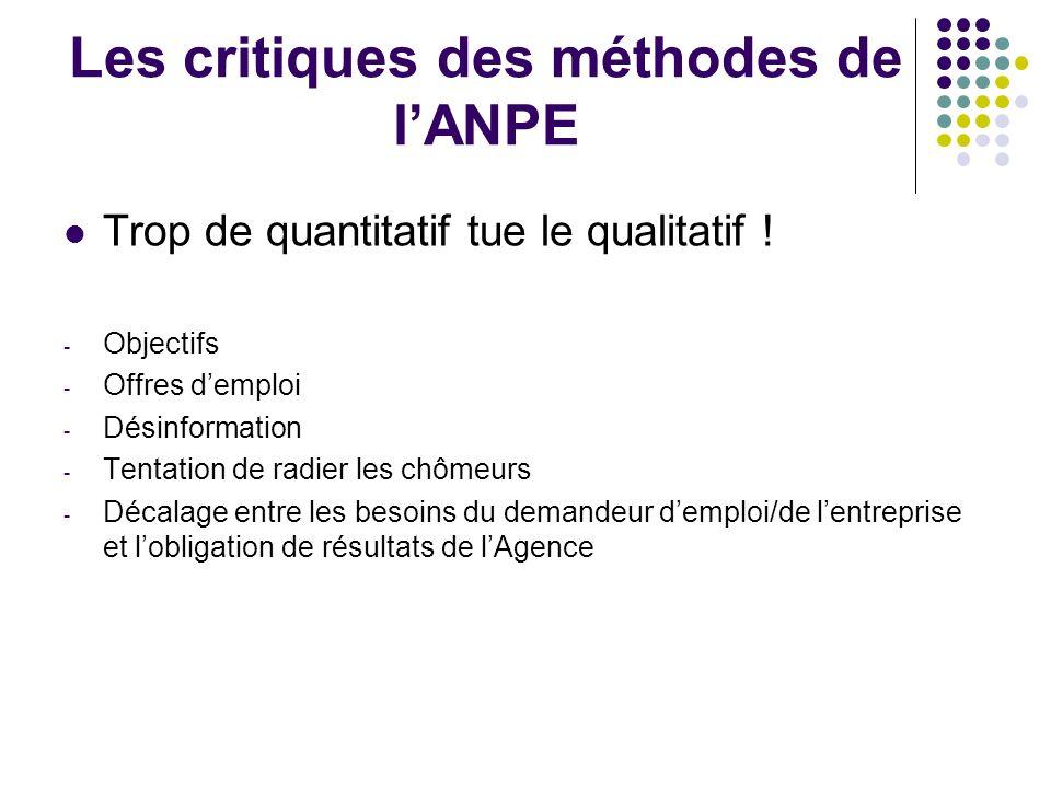 Les critiques des méthodes de lANPE Trop de quantitatif tue le qualitatif ! - Objectifs - Offres demploi - Désinformation - Tentation de radier les ch