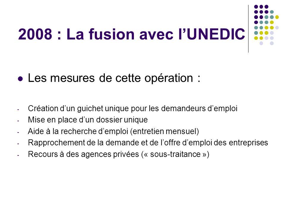 2008 : La fusion avec lUNEDIC Les mesures de cette opération : - Création dun guichet unique pour les demandeurs demploi - Mise en place dun dossier u