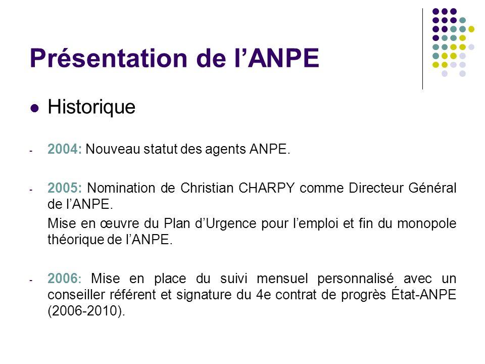 Présentation de lANPE Historique - 2004: Nouveau statut des agents ANPE. - 2005: Nomination de Christian CHARPY comme Directeur Général de lANPE. Mise