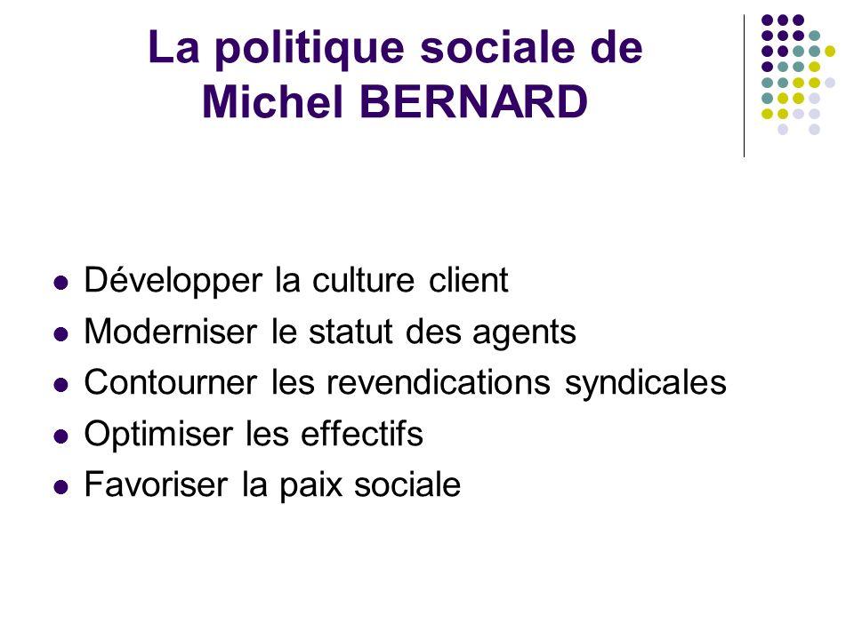 La politique sociale de Michel BERNARD Développer la culture client Moderniser le statut des agents Contourner les revendications syndicales Optimiser les effectifs Favoriser la paix sociale