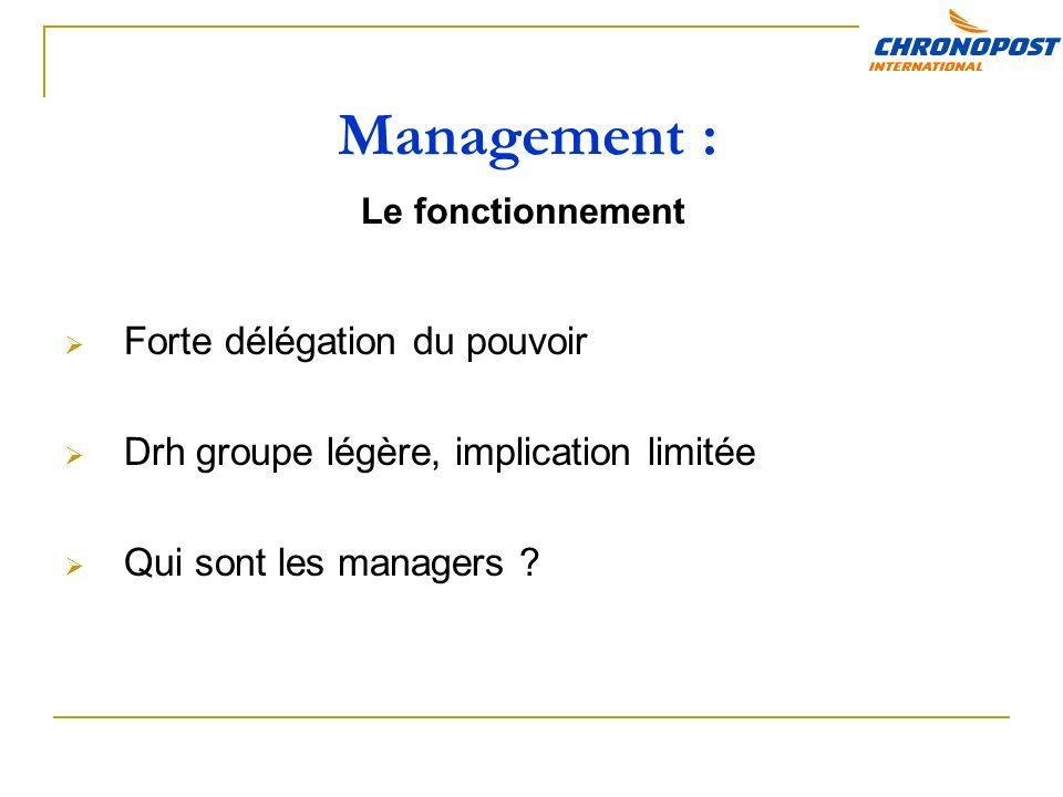 Management : Forte délégation du pouvoir Drh groupe légère, implication limitée Qui sont les managers .