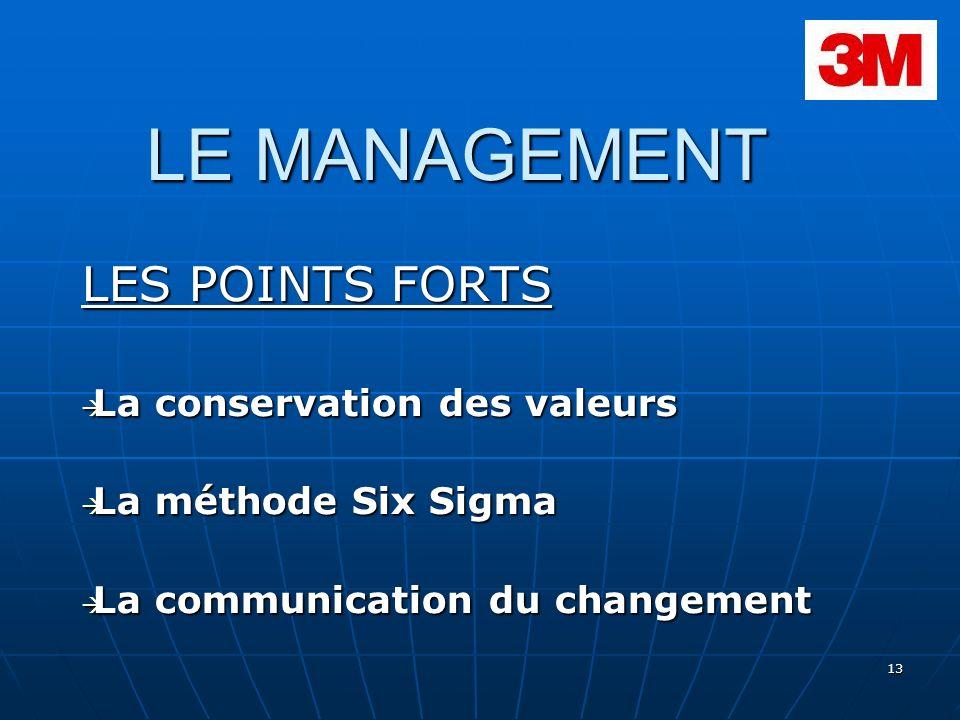 13 LE MANAGEMENT LES POINTS FORTS La conservation des valeurs La conservation des valeurs La méthode Six Sigma La méthode Six Sigma La communication d