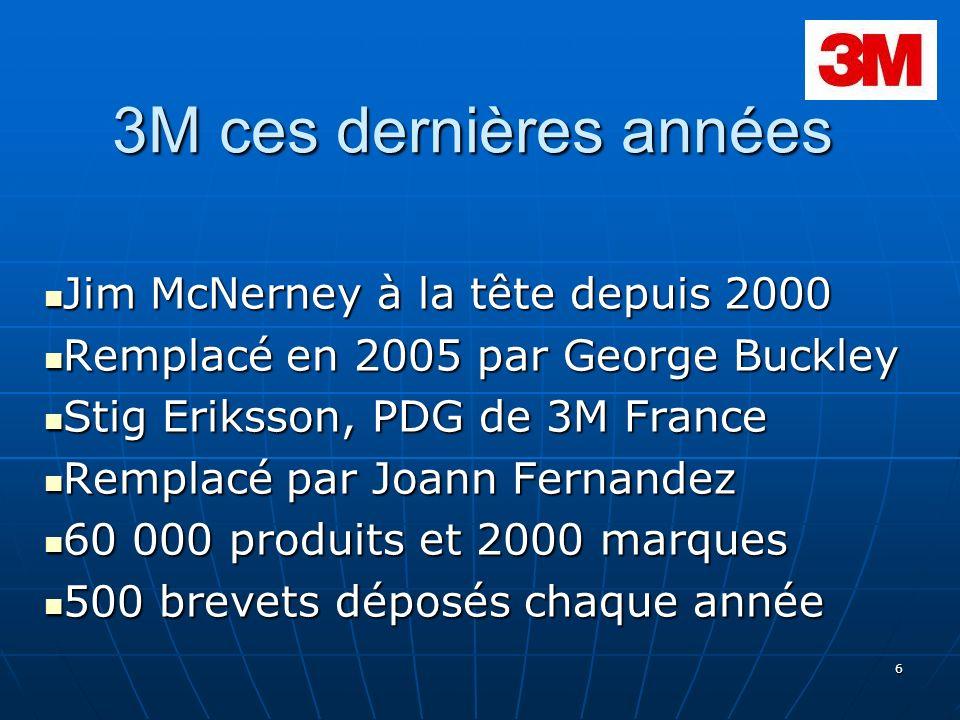 6 3M ces dernières années Jim McNerney à la tête depuis 2000 Jim McNerney à la tête depuis 2000 Remplacé en 2005 par George Buckley Remplacé en 2005 p