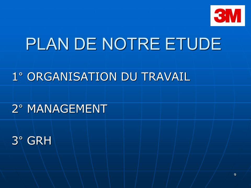 9 PLAN DE NOTRE ETUDE 1° ORGANISATION DU TRAVAIL 2° MANAGEMENT 3° GRH