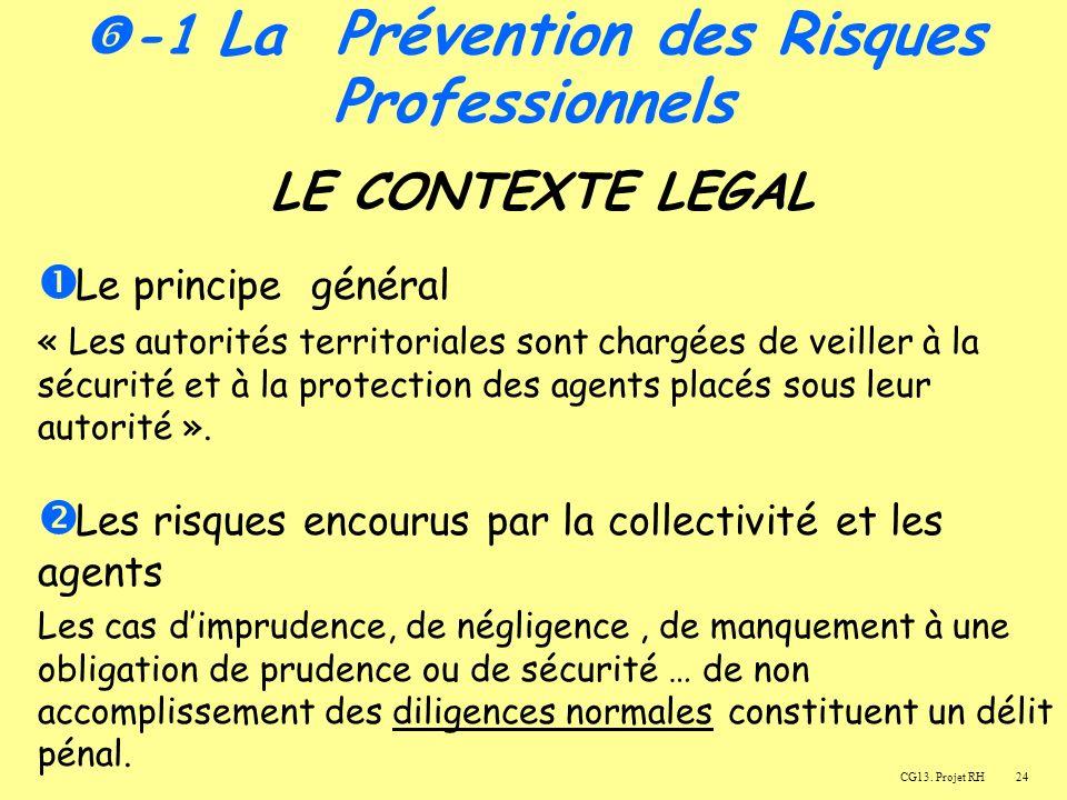 24 LE CONTEXTE LEGAL Le principe général « Les autorités territoriales sont chargées de veiller à la sécurité et à la protection des agents placés sous leur autorité ».