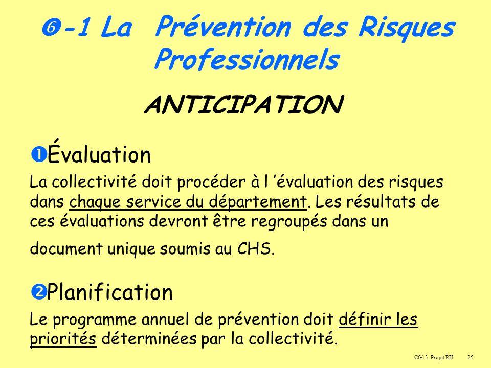 25 ANTICIPATION Évaluation La collectivité doit procéder à l évaluation des risques dans chaque service du département.