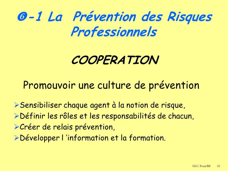 26 COOPERATION Promouvoir une culture de prévention Sensibiliser chaque agent à la notion de risque, Définir les rôles et les responsabilités de chacun, Créer de relais prévention, Développer l information et la formation.
