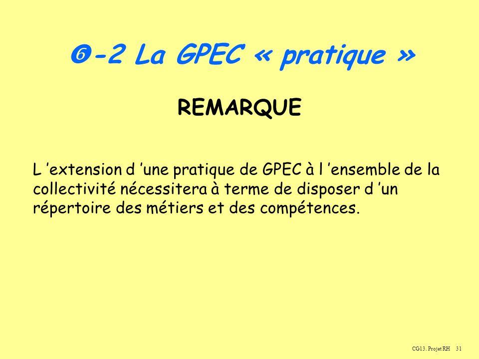 31 -2 La GPEC « pratique » REMARQUE L extension d une pratique de GPEC à l ensemble de la collectivité nécessitera à terme de disposer d un répertoire des métiers et des compétences.