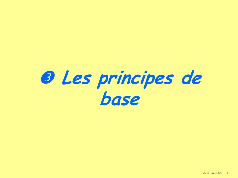 8 Les principes de base CG13. Projet RH