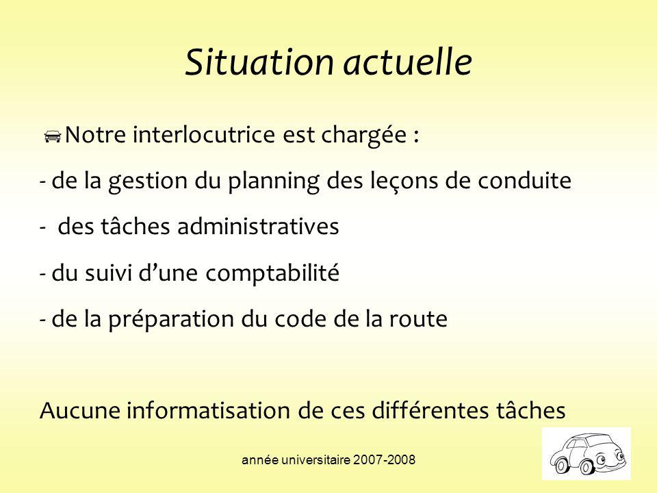année universitaire 2007-2008 Situation actuelle Notre interlocutrice est chargée : - de la gestion du planning des leçons de conduite - des tâches ad