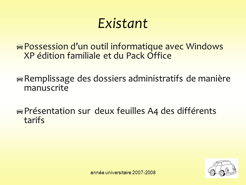 année universitaire 2007-2008 Existant Possession dun outil informatique avec Windows XP édition familiale et du Pack Office Remplissage des dossiers
