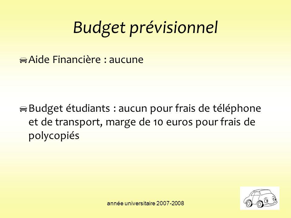 année universitaire 2007-2008 Budget prévisionnel Aide Financière : aucune Budget étudiants : aucun pour frais de téléphone et de transport, marge de