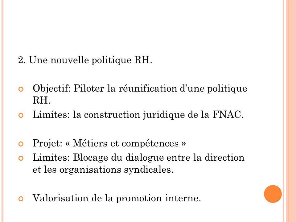 2. Une nouvelle politique RH. Objectif: Piloter la réunification dune politique RH.