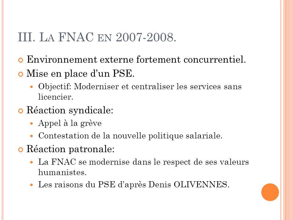 III. L A FNAC EN 2007-2008. Environnement externe fortement concurrentiel. Mise en place dun PSE. Objectif: Moderniser et centraliser les services san
