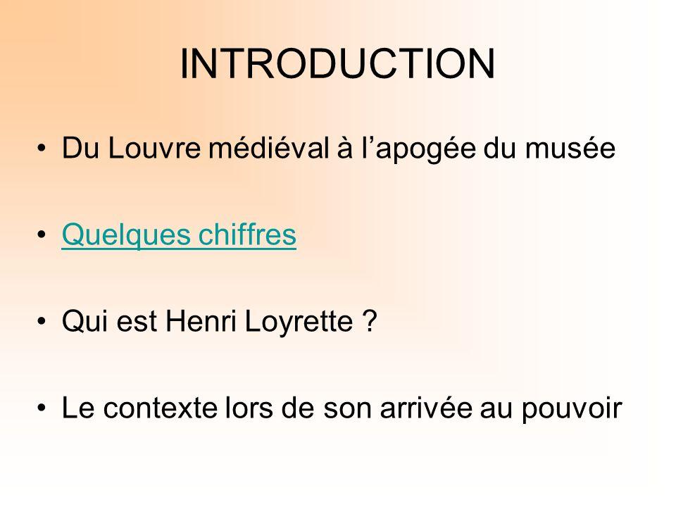INTRODUCTION Du Louvre médiéval à lapogée du musée Quelques chiffres Qui est Henri Loyrette ? Le contexte lors de son arrivée au pouvoir
