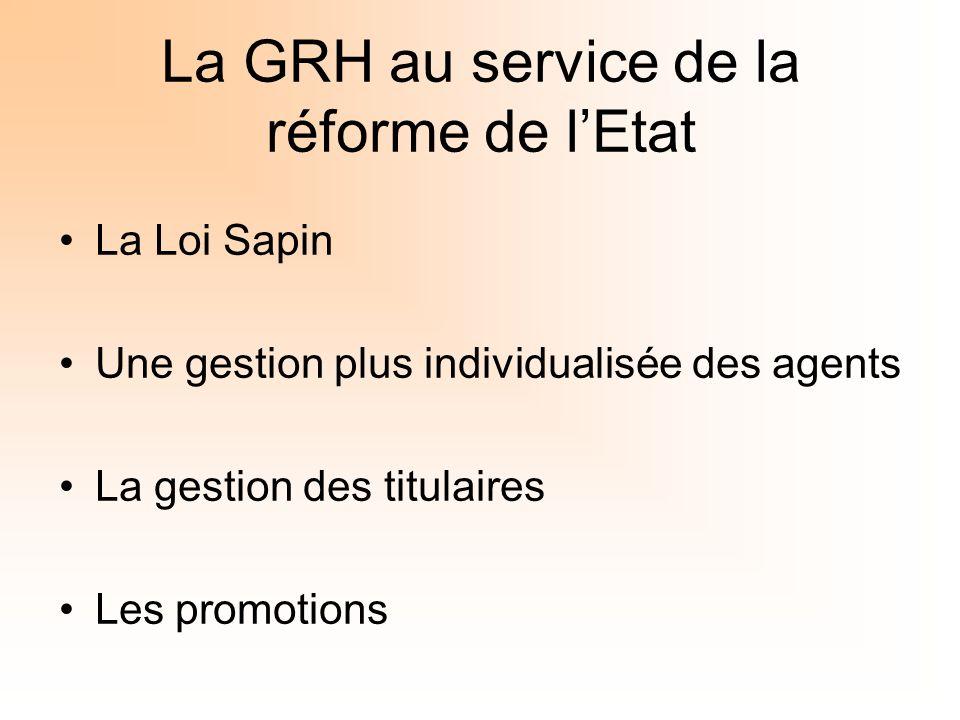 La GRH au service de la réforme de lEtat La Loi Sapin Une gestion plus individualisée des agents La gestion des titulaires Les promotions