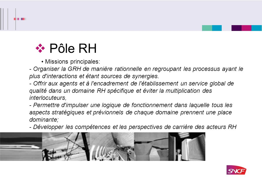 Pôle RH Missions principales: - Organiser la GRH de manière rationnelle en regroupant les processus ayant le plus d'interactions et étant sources de s