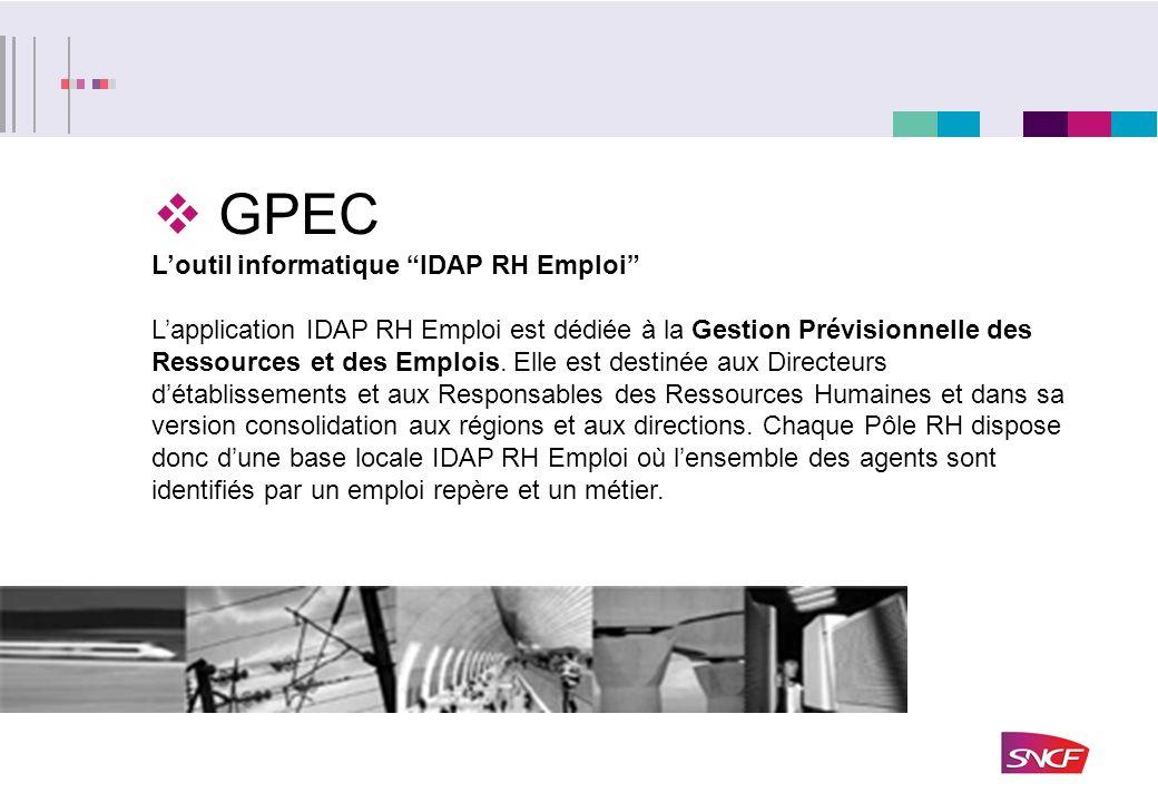 GPEC Loutil informatique IDAP RH Emploi Lapplication IDAP RH Emploi est dédiée à la Gestion Prévisionnelle des Ressources et des Emplois. Elle est des