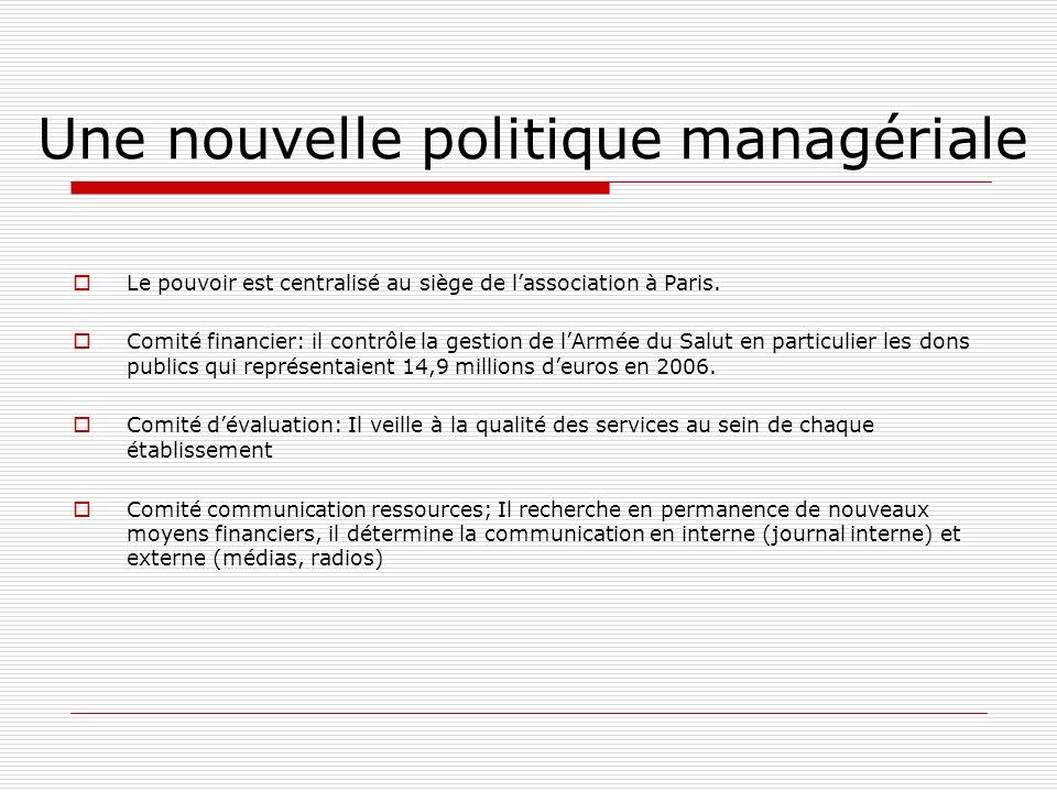 Une nouvelle politique managériale Le pouvoir est centralisé au siège de lassociation à Paris. Comité financier: il contrôle la gestion de lArmée du S