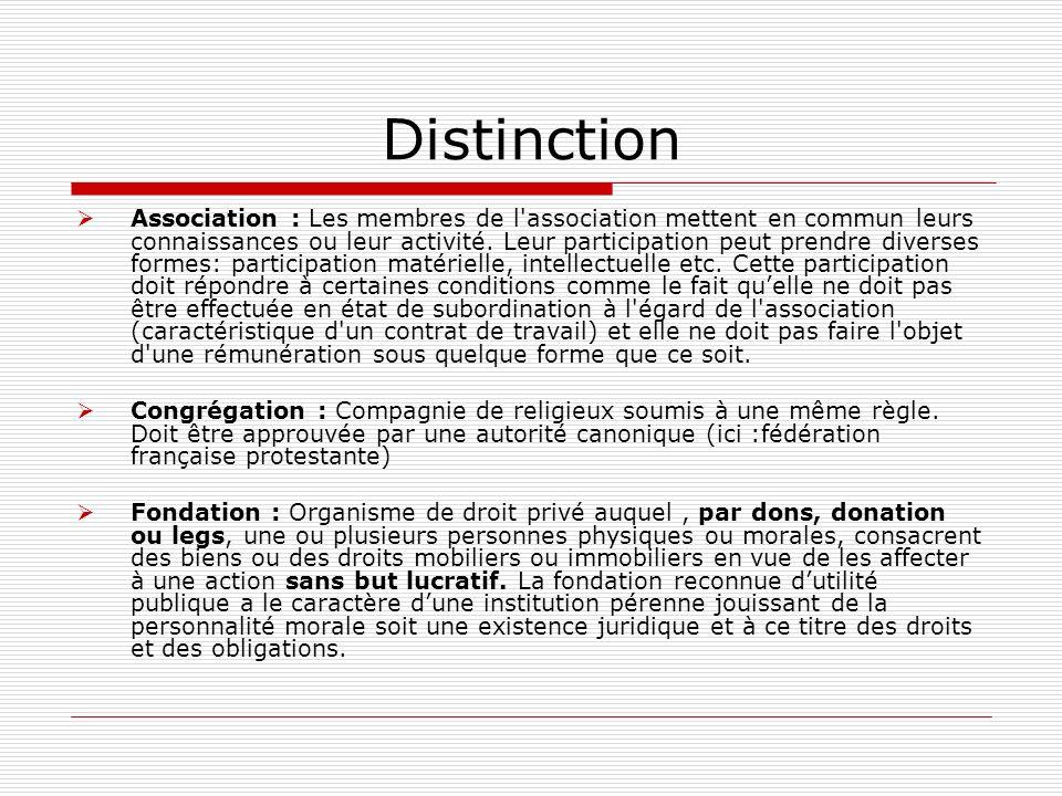 Distinction Association : Les membres de l'association mettent en commun leurs connaissances ou leur activité. Leur participation peut prendre diverse