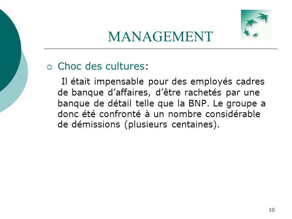10 MANAGEMENT Choc des cultures: Il était impensable pour des employés cadres de banque daffaires, dêtre rachetés par une banque de détail telle que l