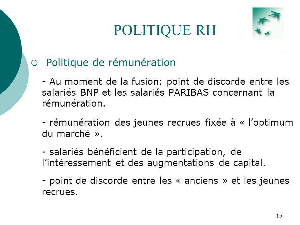 15 POLITIQUE RH Politique de rémunération - Au moment de la fusion: point de discorde entre les salariés BNP et les salariés PARIBAS concernant la rém