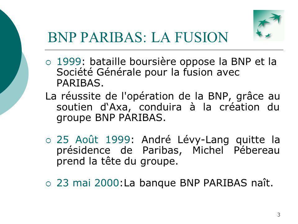 3 BNP PARIBAS: LA FUSION 1999: bataille boursière oppose la BNP et la Société Générale pour la fusion avec PARIBAS. La réussite de l'opération de la B