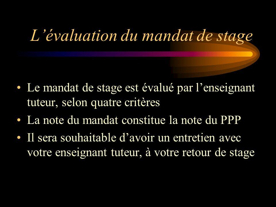 Lévaluation du mandat de stage Le mandat de stage est évalué par lenseignant tuteur, selon quatre critères La note du mandat constitue la note du PPP