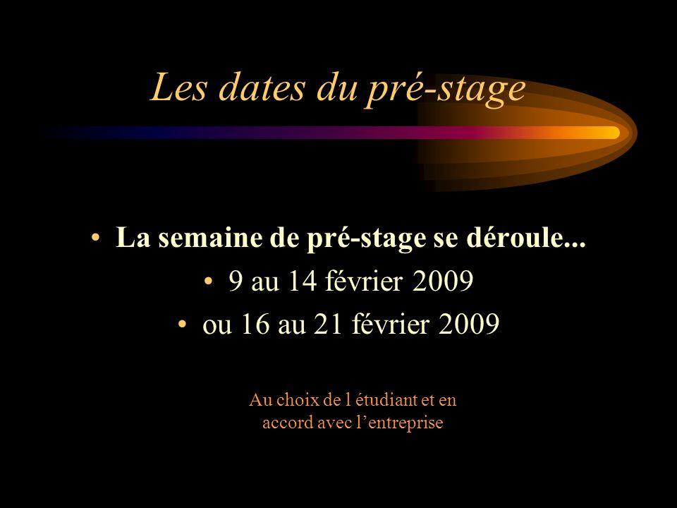 Les dates du pré-stage La semaine de pré-stage se déroule... 9 au 14 février 2009 ou 16 au 21 février 2009 Au choix de l étudiant et en accord avec le