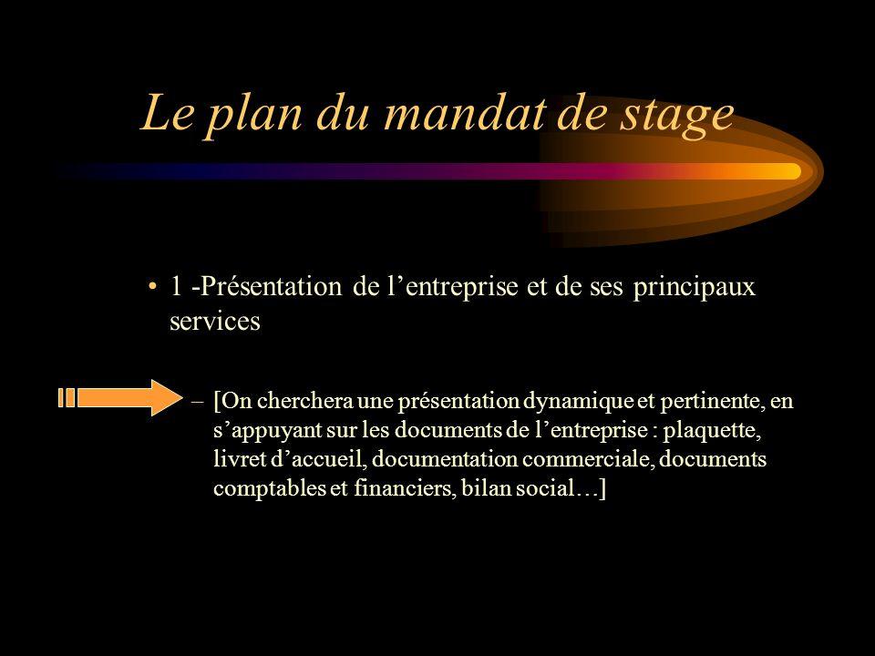 Le plan du mandat de stage 1 -Présentation de lentreprise et de ses principaux services –[On cherchera une présentation dynamique et pertinente, en sa