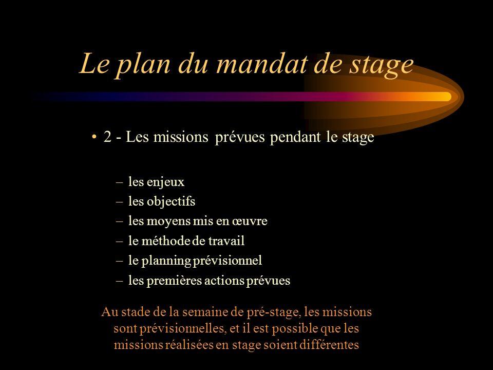 Le plan du mandat de stage 2 - Les missions prévues pendant le stage –les enjeux –les objectifs –les moyens mis en œuvre –le méthode de travail –le pl