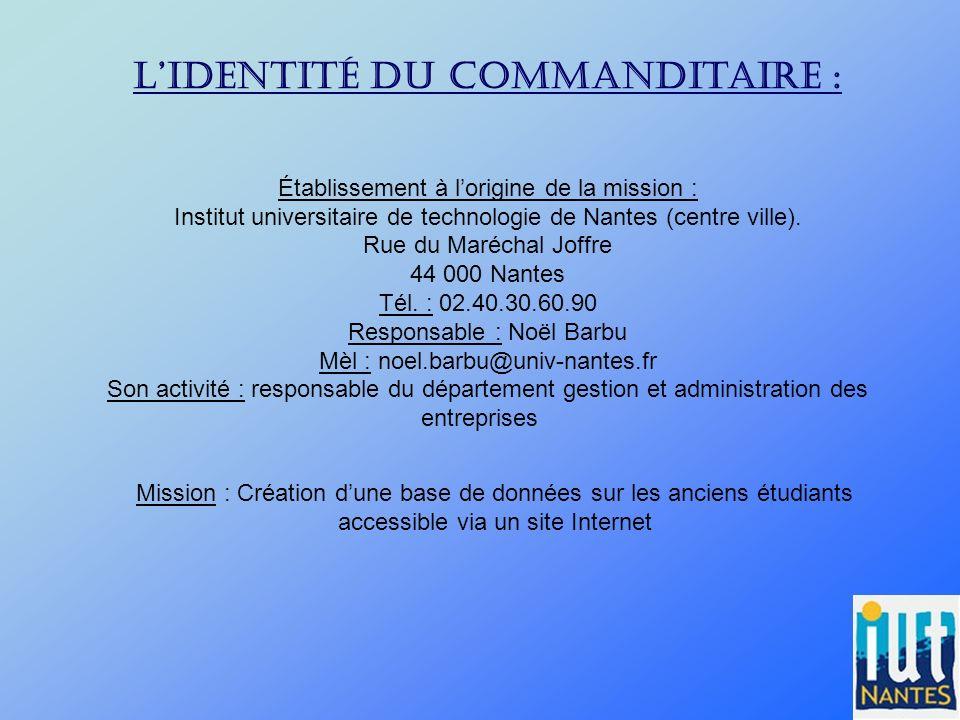 Lidentité du commanditaire : Établissement à lorigine de la mission : Institut universitaire de technologie de Nantes (centre ville). Rue du Maréchal