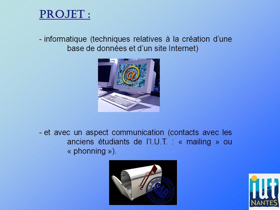 PROJET : - informatique (techniques relatives à la création dune base de données et dun site Internet) - et avec un aspect communication (contacts ave