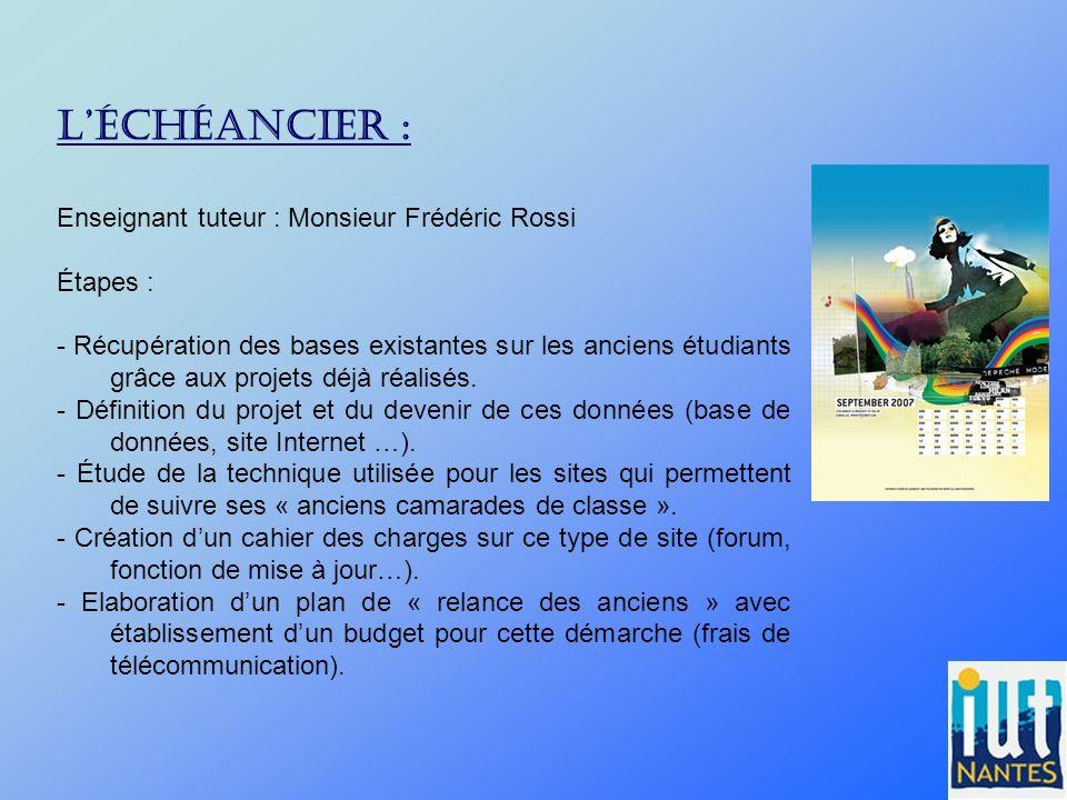 Léchéancier : Enseignant tuteur : Monsieur Frédéric Rossi Étapes : - Récupération des bases existantes sur les anciens étudiants grâce aux projets déj