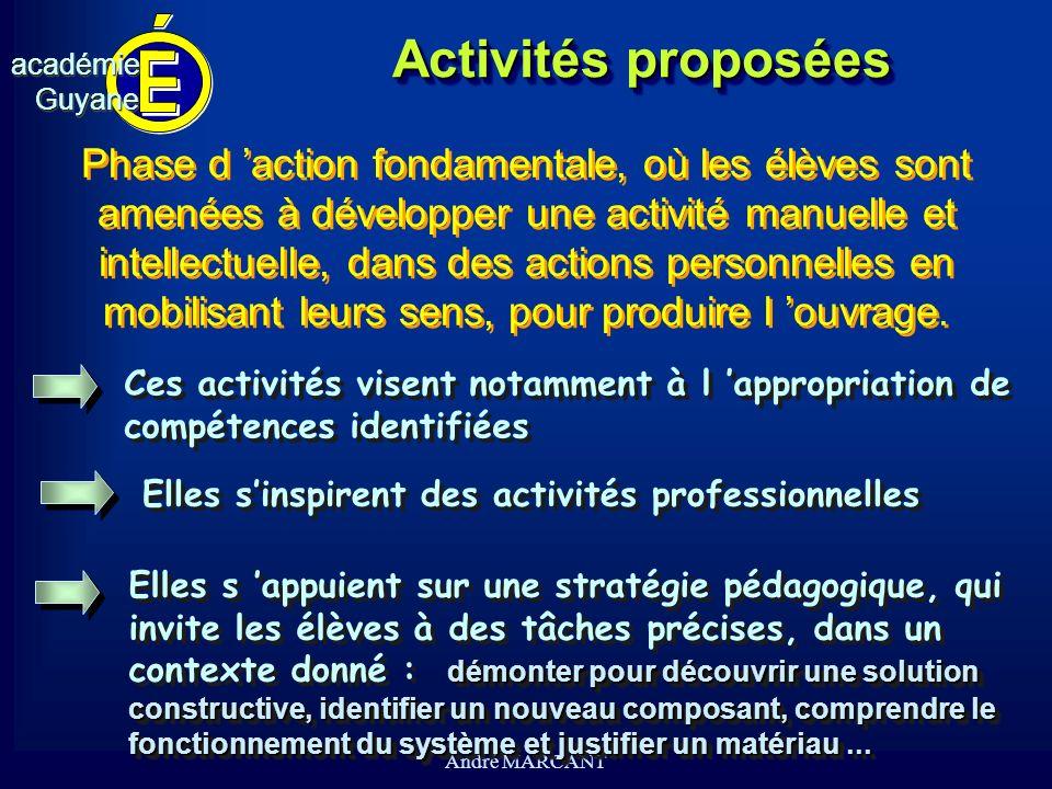 cv académieGuyaneacadémieGuyane André MARCANT Activités proposées Phase d action fondamentale, où les élèves sont amenées à développer une activité ma