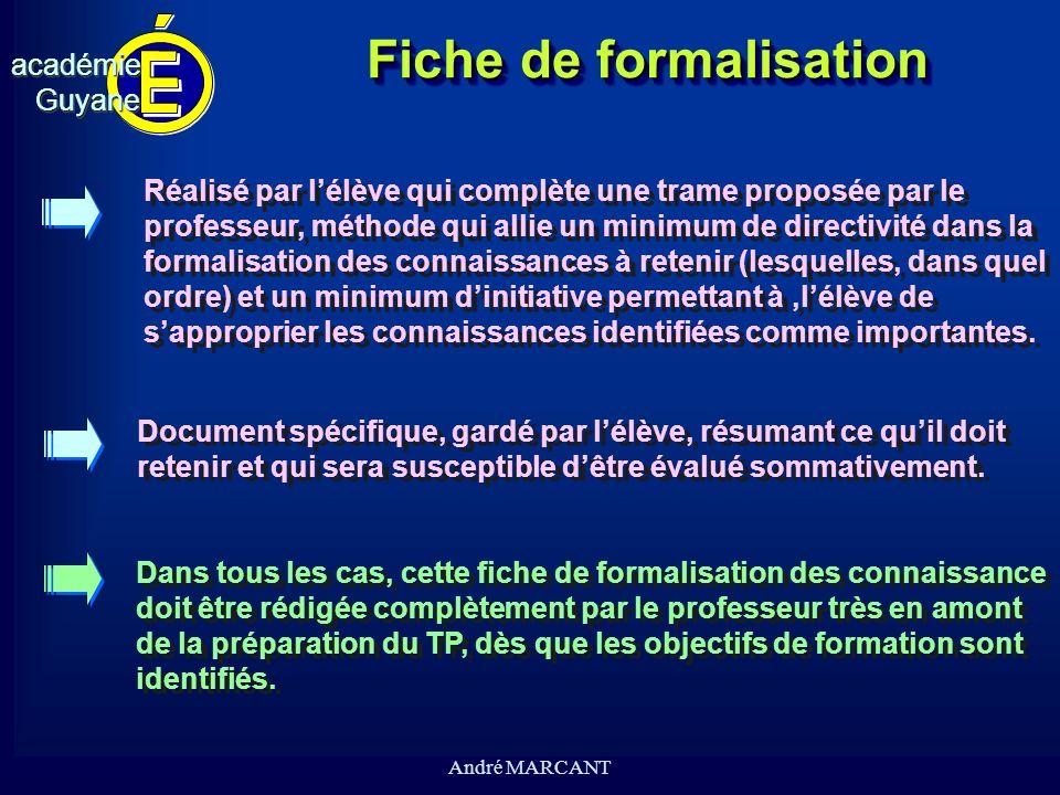cv académieGuyaneacadémieGuyane André MARCANT Fiche de formalisation Document spécifique, gardé par lélève, résumant ce quil doit retenir et qui sera