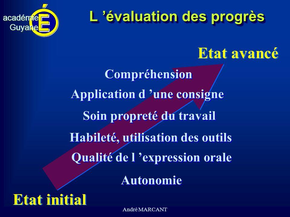 cv académieGuyaneacadémieGuyane André MARCANT L évaluation des progrès Etat initial Etat avancé Compréhension Application d une consigne Soin propreté