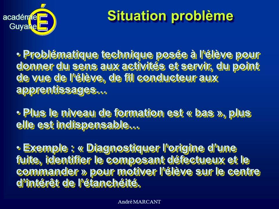 cv académieGuyaneacadémieGuyane André MARCANT Situation problème Problématique technique posée à lélève pour donner du sens aux activités et servir, d