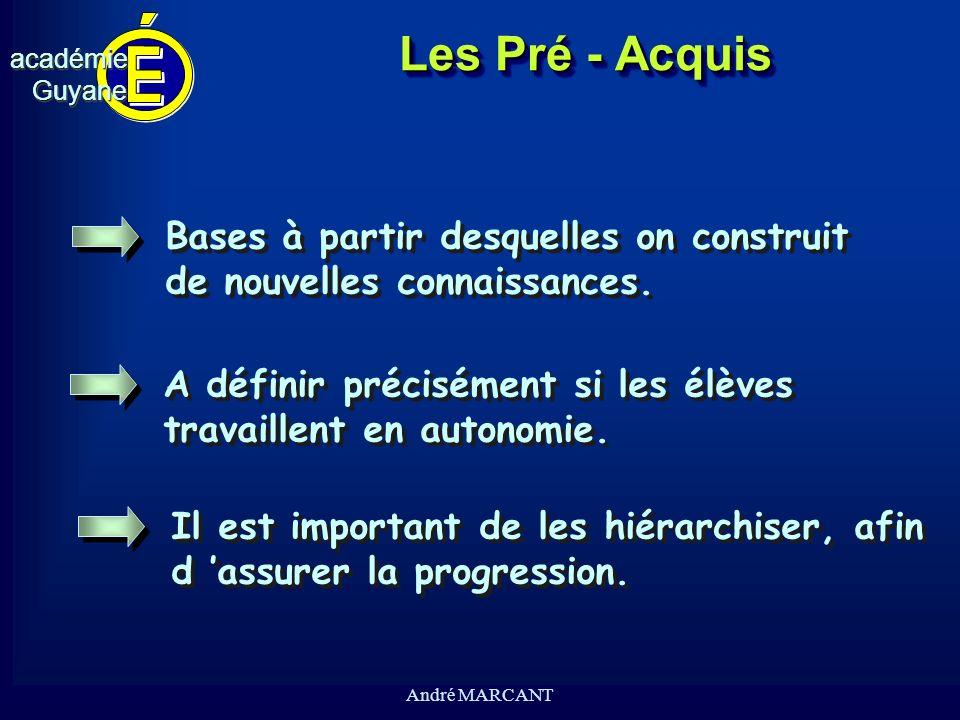 cv académieGuyaneacadémieGuyane André MARCANT Les Pré - Acquis Bases à partir desquelles on construit de nouvelles connaissances. Bases à partir desqu