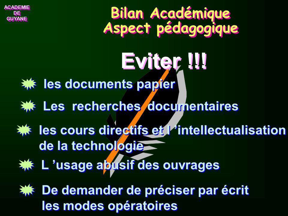 ACADEMIE ACADEMIE Bilan Académique Les aspects positifs Bonne organisation des activités Des élèves disciplinés Un environnement agréable Un enseignem