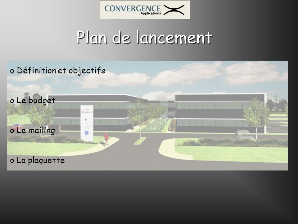 Plan de lancement o Définition et objectifs o Le budget o Le mailing o La plaquette