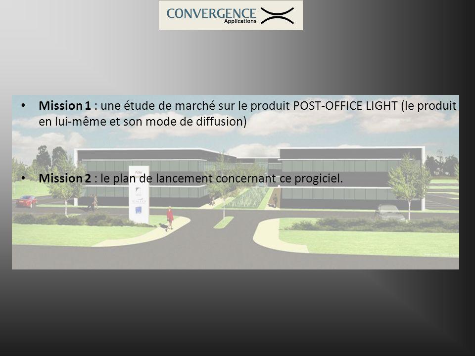 Mission 1 : une étude de marché sur le produit POST-OFFICE LIGHT (le produit en lui-même et son mode de diffusion) Mission 2 : le plan de lancement co