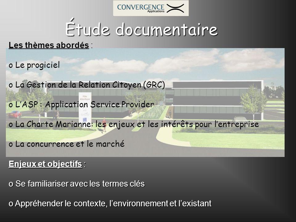 Les thèmes abordés : o Le progiciel o La Gestion de la Relation Citoyen (GRC) o LASP : Application Service Provider o La Charte Marianne: les enjeux e