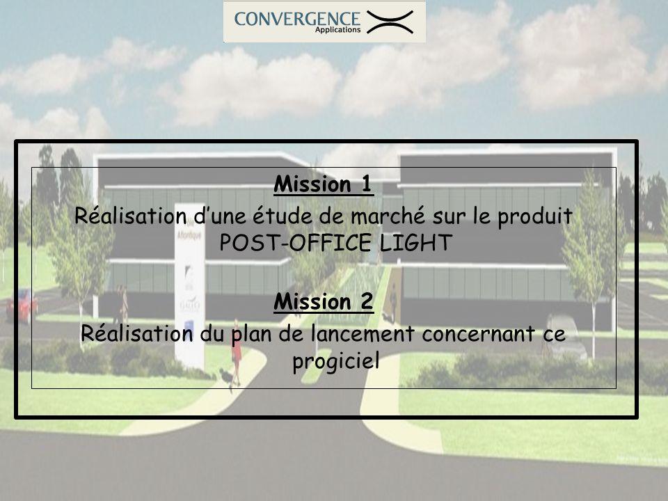 Mission 1 Réalisation dune étude de marché sur le produit POST-OFFICE LIGHT Mission 2 Réalisation du plan de lancement concernant ce progiciel