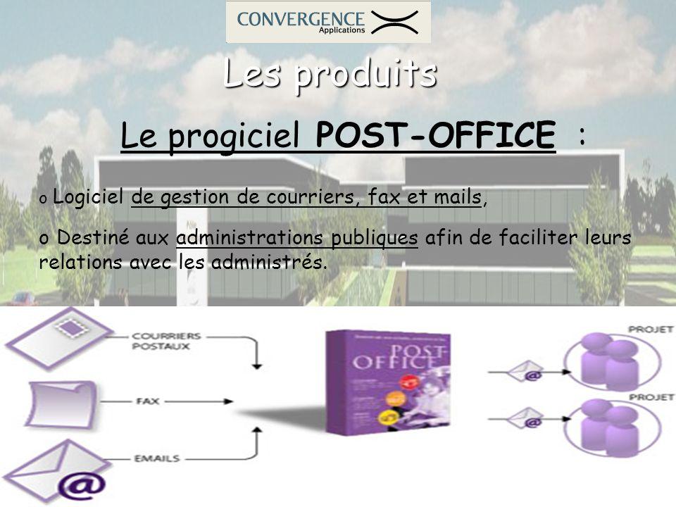 Les produits Le progiciel POST-OFFICE : o Logiciel de gestion de courriers, fax et mails, o Destiné aux administrations publiques afin de faciliter le