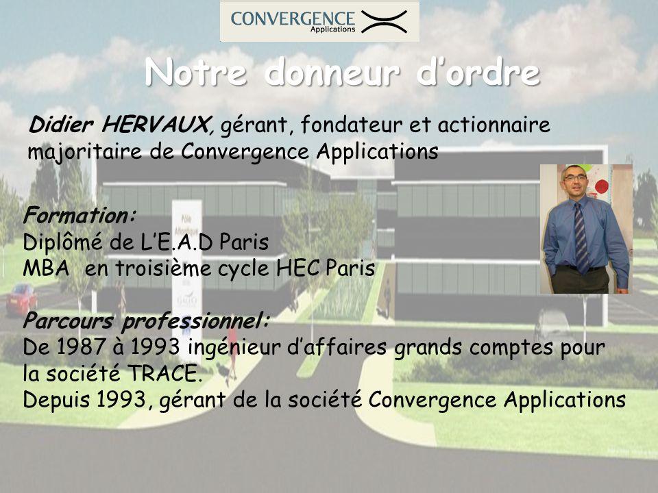 Notre donneur dordre Didier HERVAUX, gérant, fondateur et actionnaire majoritaire de Convergence Applications Formation: Diplômé de LE.A.D Paris MBA e