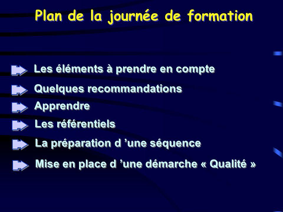 Plan de la journée de formation Les éléments à prendre en compte Quelques recommandations La préparation d une séquence Apprendre Les référentiels Mis